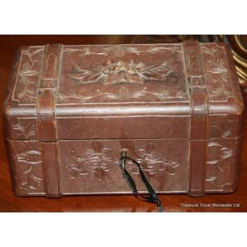 Delicate Carved Oak Edwardian Black Forest Box