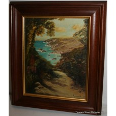 "Small Riviera Oil on Canvas Signed ""Y. Rayworth 85"""