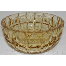 Edinburgh Crystal Cut Glass Coloured Yellow Bowl