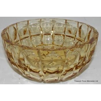 Edinburgh Crystal Cut Glass Coloured Yellow Bowl
