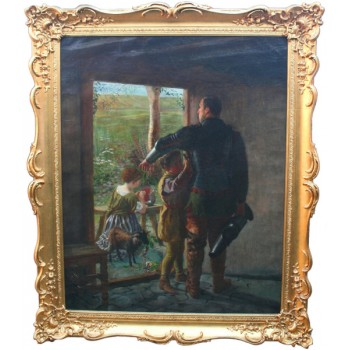 'A Call to Duty' Fine Pre Raphaelite Painting Oil on Canvas