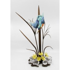 Albany Kingfisher Sculpture Porcelain Bronze & Rock Crystal