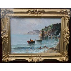 Fine Italian Naples Seascape Painting Signed by Elio Amoroso Oil on Board Framed