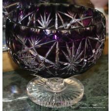 Cut Glass Overlay Crystal Amethyst Footed Bowl