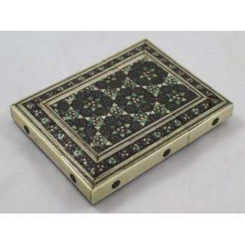 Anglo Indian Inlaid Bone Micro Mosaic Calling Card Case