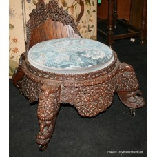 19th c. Carved Anglo-Indian Chair