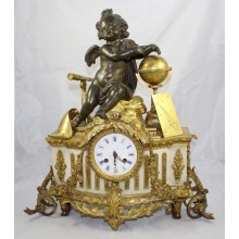 Antique 19th c. Bronze & Marble Ormolu Mantle Clock