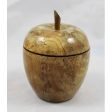 Antique Carved Wood Apple Treen Container