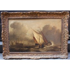 Antique Atmospheric Seascape Oil on Board
