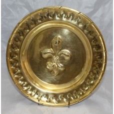 Antique Brass Charger with Fleur de Lys