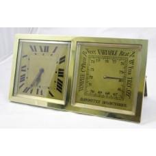 Antique Continental Brass Desk Clock & Barometer