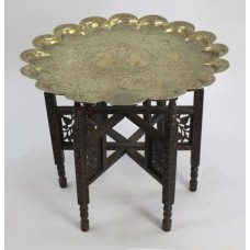 Antique Engraved Brass Tray Table