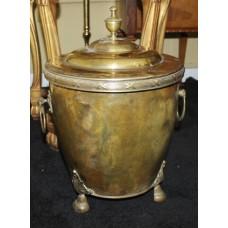 Antique Brass Lidded Coal Wood Bucket