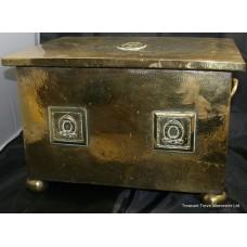 Antique Brass Lidded Log Box