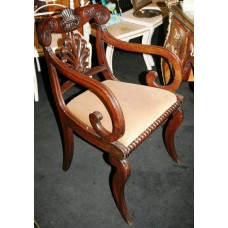 Antique Carved Mahogany Regency Library Armchair