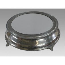 Antique Circular Mirror Topped Pewter Cake Stand