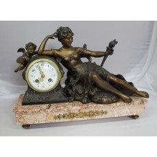 French Spelter & Rouge Marble Mantle Clock c.1890