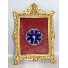 Antique Decorative Enamel Dish Set in Gilt Metal Frame