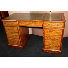 Antique Early 19th c. Small Leather Topped  Pedestal Desk
