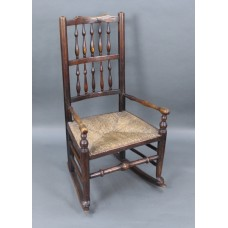 18th c. English Elm Rocking Chair with Rush Seat
