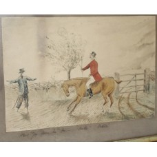 Antique English Humorous Fox Hunting Watercolour