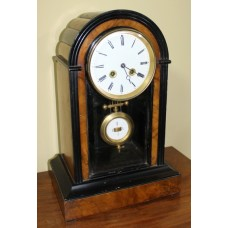 Antique Figured Walnut & Ebony Mantle Clock