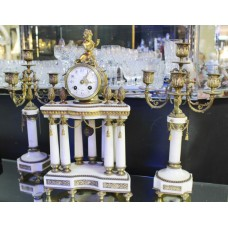 Antique French Marble Garniture Clock Set