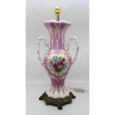 Antique Hand Painted Two Handled Porcelain Table Lamp