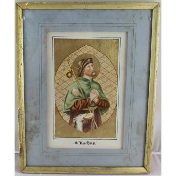 Antique Illuminated Watercolour of Saint Rochus