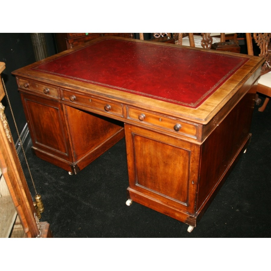 Antique Leather Topped Mahogany Partners Desk