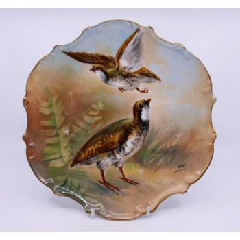 Antique Limoges Hand Painted Game Birds Plate