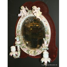 Antique Oval Dresden Girandole Mirror