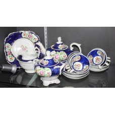 19th c. Staffordshire Hand Painted Lustre Tea Service 23 Pieces