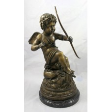 Antique Style Bronze Cherub on Marble Base
