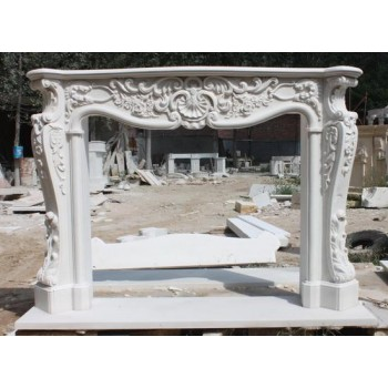 Fine Antique Style Carved White Marble Fire Surround