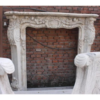 Antique Style Carved Stone White Travertine Fire Surround