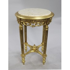 Antique Style Circular Marble Topped Giltwood Lamp Table