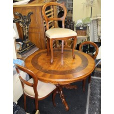 Antique Style Circular Inlaid Effect Carved Table & 4 Chairs