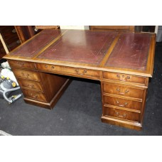 Antique Style Mahogany Burgundy Leather Topped Pedestal Desk