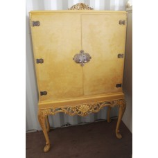 Antique Style Painted Mirrored Cocktail Cabinet on Stand
