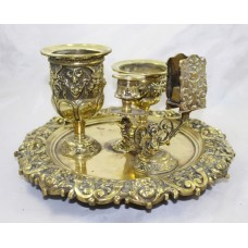 Antique Victorian Brass Inkwell & Writing Desk Set