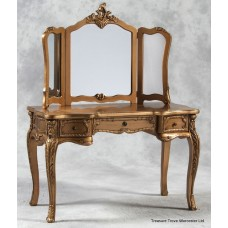 Elegant Gilt French Style Dressing Table with Mirror