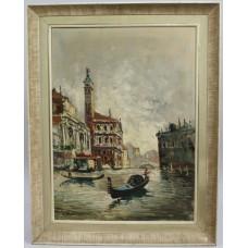 Antonio DeVity (Italian, 1901-1993) Venice Canal Oil on Canvas