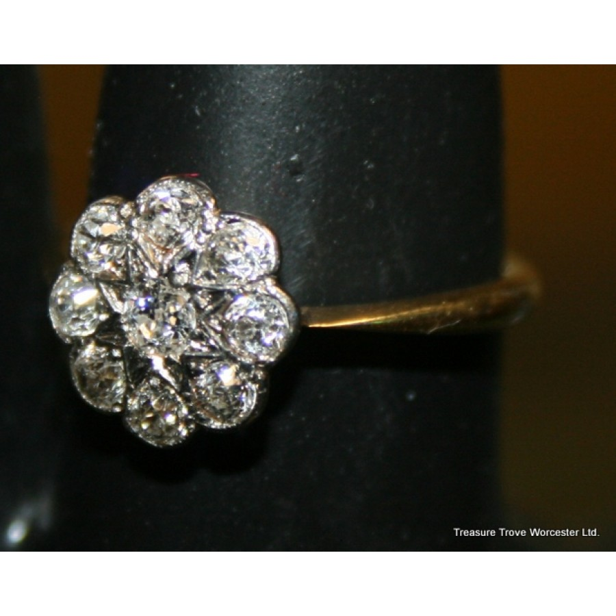 Art Deco Diamond Flower Head Cluster Yellow Gold Ring