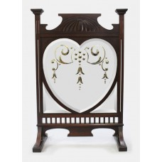 Late Victorian Art Nouveau Style Engraved Mirrored Fire Screen