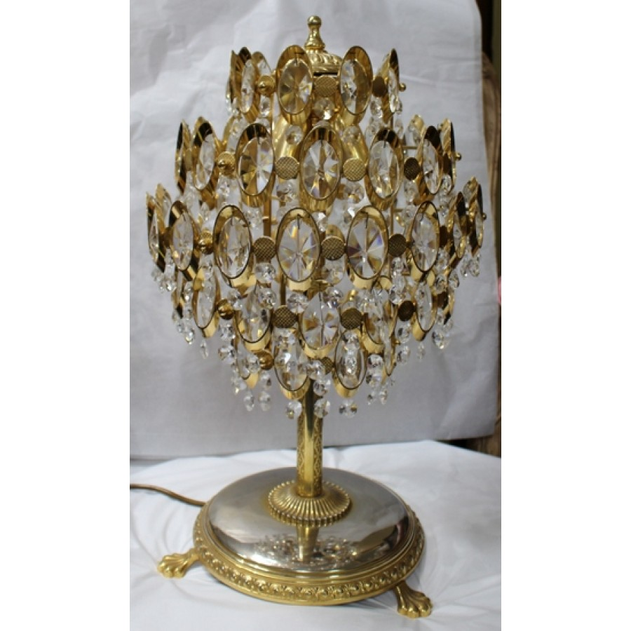 Attractive Crystal Gold Plated Footed Table Lamp
