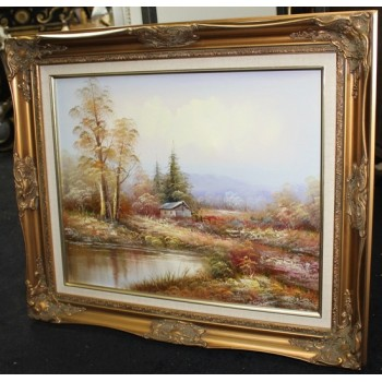 Autumnal Landscape Oil on Canvas Set in Gilt Frame