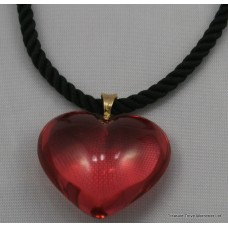 Baccarat Heart Pendant 18ct Gold on Silk Chord