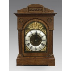 Early 20th c. German Oak Cased Mantle Clock by Badische Uhrenfabrik