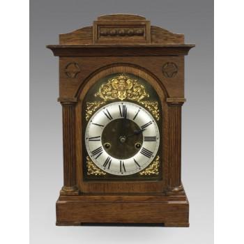 Early 20th c. German Oak Cased Mantle Clock by Badische Uhrenfabrik